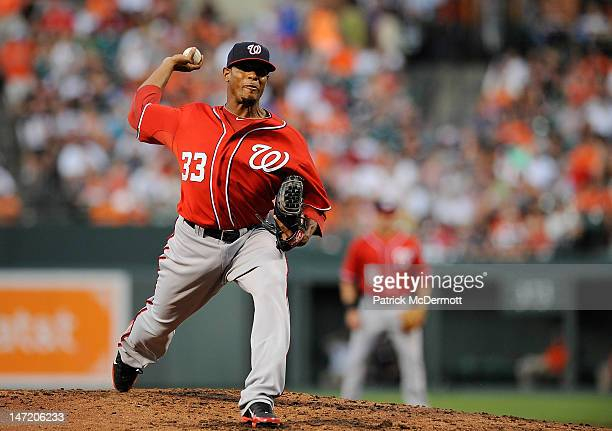 Edwin Jackson of the Washington Nationals throws a pitch against the Baltimore Orioles during an interleague game at Oriole Park at Camden Yards on...