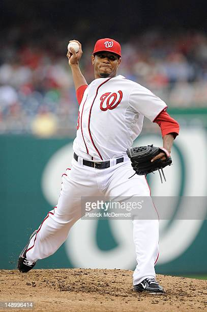 Edwin Jackson of the Washington Nationals throws a pitch against the Atlanta Braves at Nationals Park on July 21 2012 in Washington DC