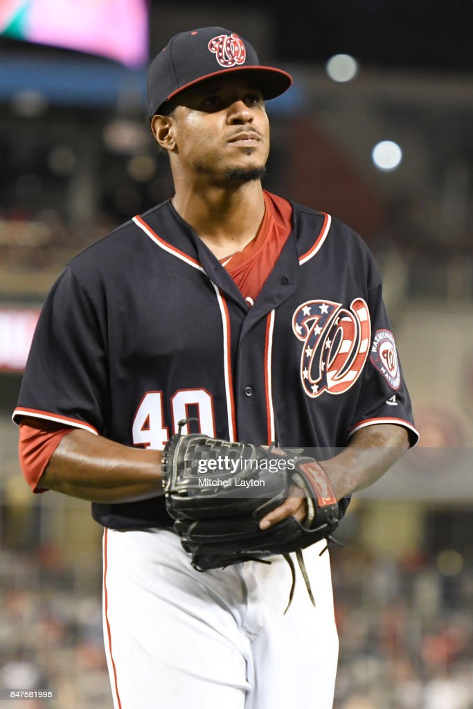 Edwin Jackson #40 of the Washington Nationals walks to dug out after getting taken out in the third inning during a baseball game against the Los Angeles Dodgers at Nationals Park on September 15, 2017 in Washington, DC.