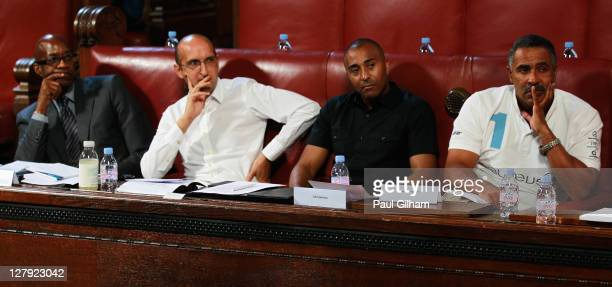 Edwin Moses Mathew Syed Colin Jackson and Daley Thompson look on during a Science and Ethics in Sport Symposium at County Hall on October 3 2011 in...
