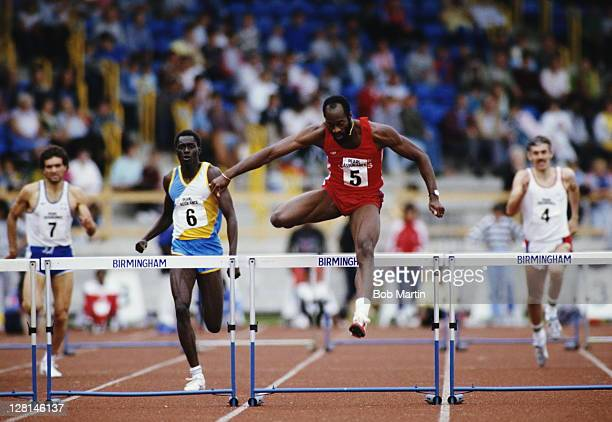 Edwin Moses of the United States clears the hurdle on his way to winning the Men's 400 metres hurdles event at the Pearl Assurance Invitation Games...