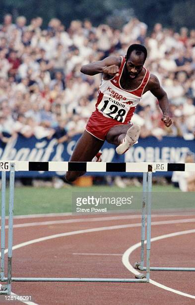 Edwin Moses of the United States during the Men's 400 metres hurdles at the Canon Athletics Championships on 29th August 1984 at the Oberwerth...