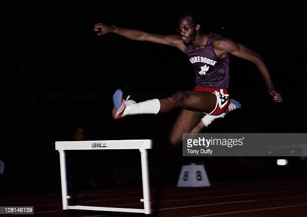 Edwin Moses of the United States during training for the Men's 400 metres hurdles on 1st May 1978 at the Morehouse College in Atlanta, Georgia,...