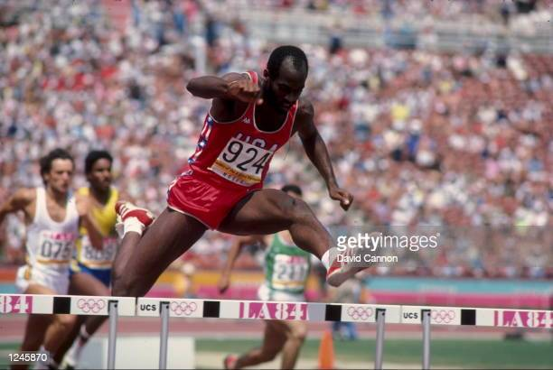 Edwin Moses of the USA clears a hurdle en route to his victory in the men's 400m hurdles final at the 1984 Summer Olympic Games in Los Angeles...