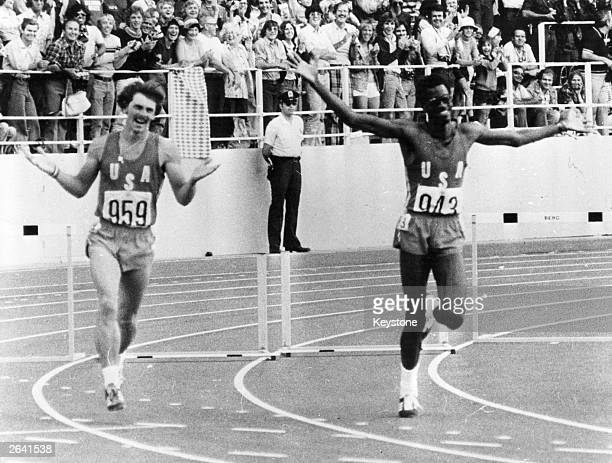 Edwin Moses, the American athlete, running a lap of honour at the Montreal Olympics after winning the final of the 400 metres hurdles final. Pictured...