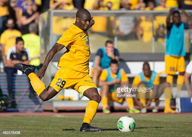 Edwin Ouon of AEL Limassol in action during the Cypriot First Division match AEL Limassol FC and APOEL FC at the Tsirion Stadium on May 17 2014 in in...