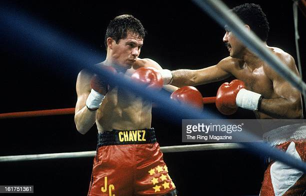 Edwin Rosario lands a punch to Julio Cesar Chavez during the fight at Hilton Hotel in Las Vegas Nevada Julio Cesar Chavez won the WBA World...