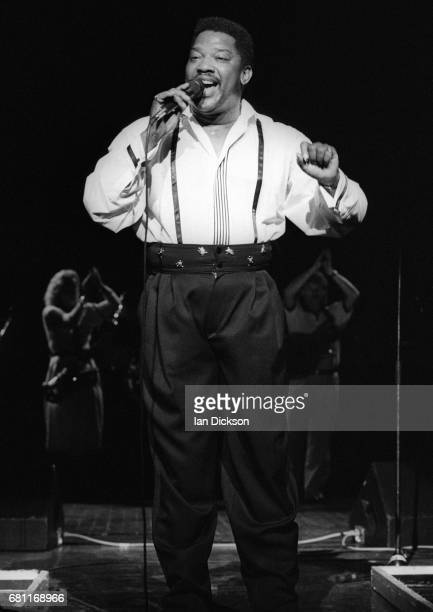 Edwin Starr performing on stage at Magic Of Motown Revue Hammersmith Odeon London 24 October 1989