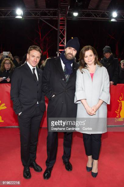 Edwin Thomas, Rupert Everett and Emily Watson attend the 'The Happy Prince' premiere during the 68th Berlinale International Film Festival Berlin at...