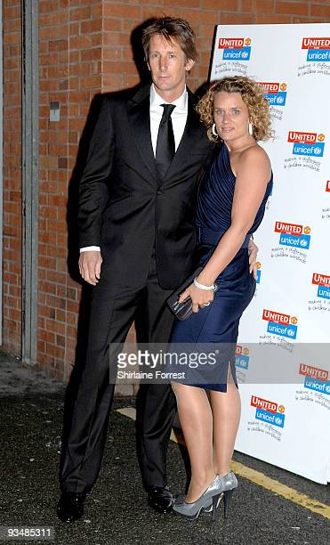 Edwin van der Sar and wife Annemarie van Kesteren attend the Manchester United annual gala dinner United For UNICEF at Old Trafford on November 29...