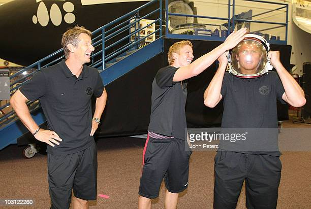 Edwin van der Sar Ben Amos and Tomasz Kuszczak of Manchester United visit NASA Space Center as part of their preseason tour of the US Canada and...