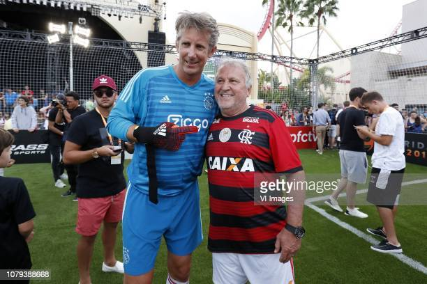 Edwin van der Sar of Ajax Legends Arthur Antunes Coimbra during a Legends match 5 v 5 of the Florida Cup 2019 at the Universal Studios on January 08...