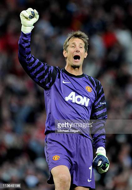 Edwin van der Sar of Manchester United celebrates after his team's second goal during the UEFA Champions League Semi Final second leg match between...