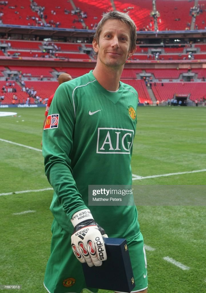 Edwin van der Sar of Manchester United celebrates after winning the Community Shield pre-season friendly match between Chelsea and Manchester United at Wembley Stadium on August 5 2007 in London, England.