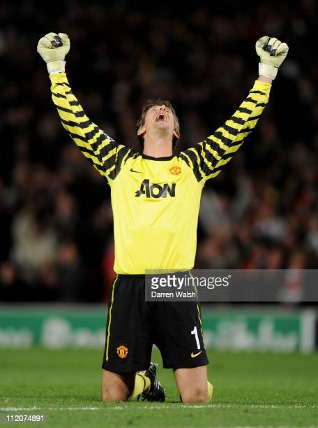 Edwin van der Sar of Manchester United celebrates his team's second goal during the UEFA Champions League Quarter Final second leg match between...
