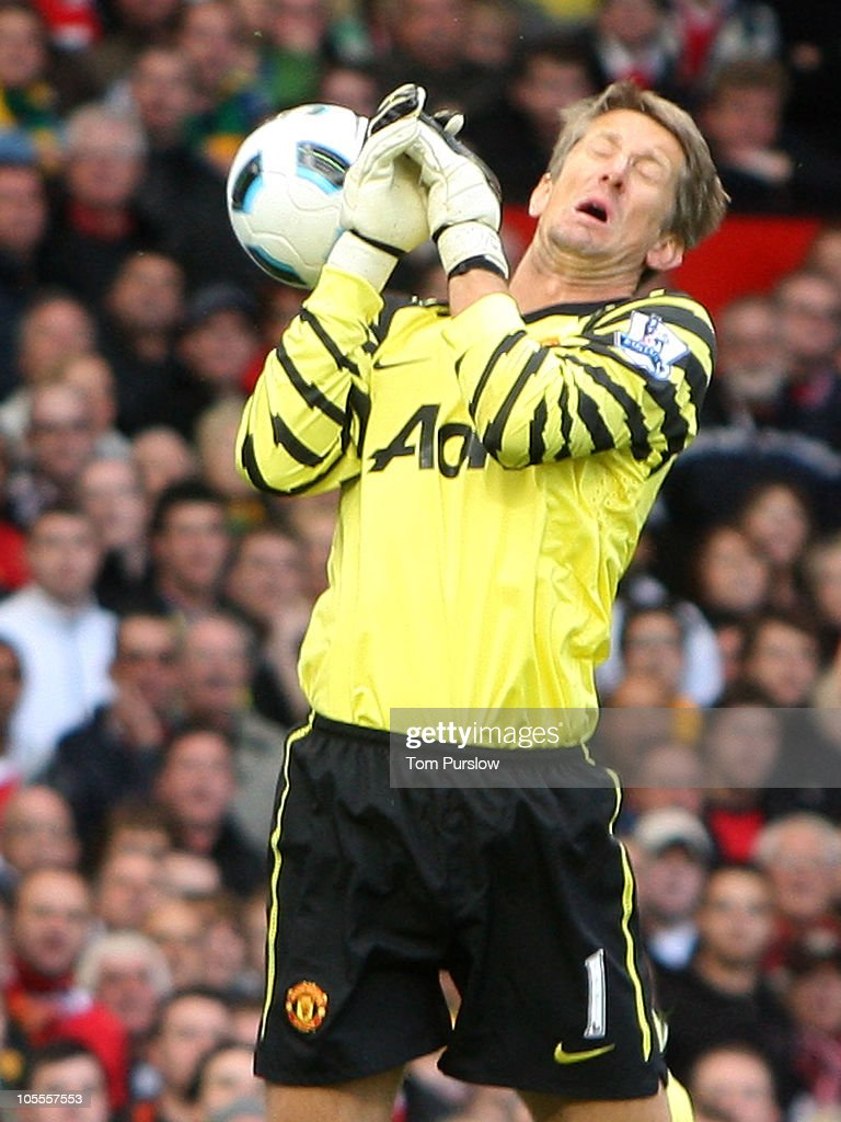 Edwin van der Sar of Manchester United fumbles the ball, leading to a goal for West Bromwich Albion during the Barclays Premier League match between Manchester United and West Bromwich Albion at Old Trafford on October 16, 2010 in Manchester, England.