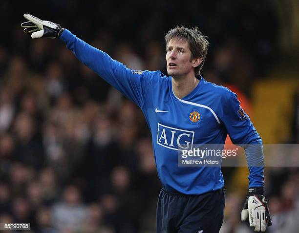 Edwin van der Sar of Manchester United in action during the FA Cup sponsored by e.on Sixth Round match between Fulham and Manchester United at Craven...