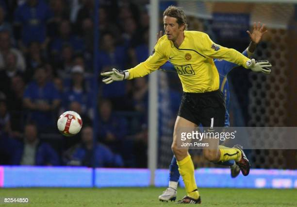 Edwin van der Sar of Manchester United in action during the FA Premier League match between Portsmouth and Manchester United at Fratton Park on...