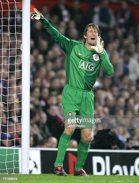 Edwin van der Sar of Manchester United in action during the UEFA Champions League match between Manchester United and FC Copenhagen at Old Trafford...