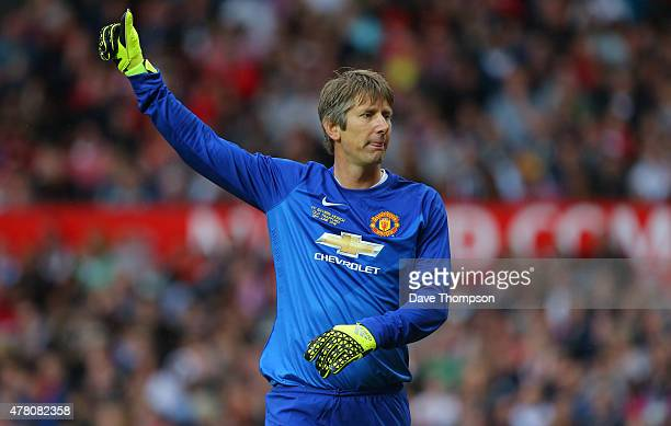Edwin van der Sar of Manchester United Legends during the Manchester United Foundation charity match between Manchester United Legends and Bayern...