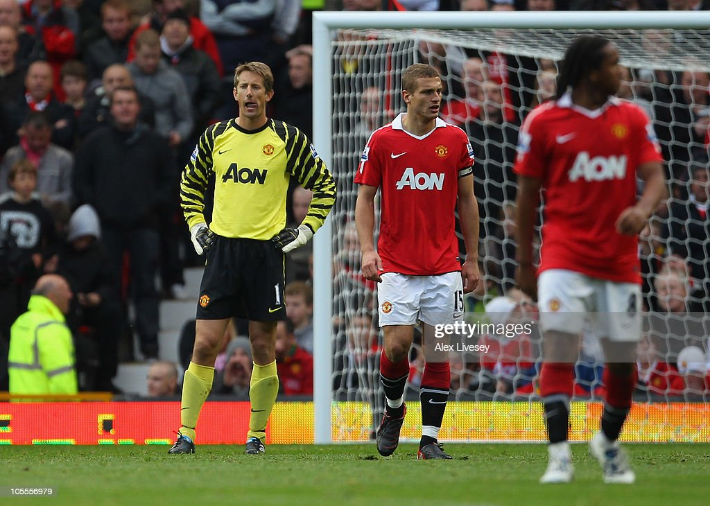 Edwin Van Der Sar of Manchester United looks dejected after his mistake led to the equalizing goal during the Barclays Premier League match between Manchester United and West Bromwich Albion at Old Trafford on October 16, 2010 in Manchester, England.