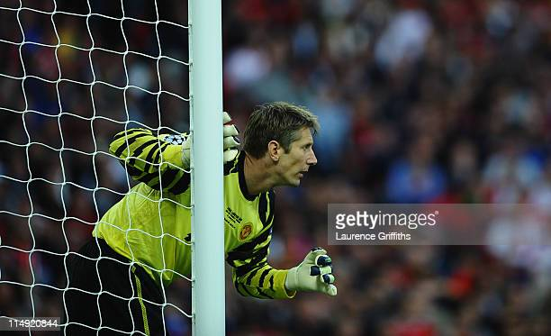 Edwin van der Sar of Manchester United looks on during the UEFA Champions League final between FC Barcelona and Manchester United FC at Wembley...
