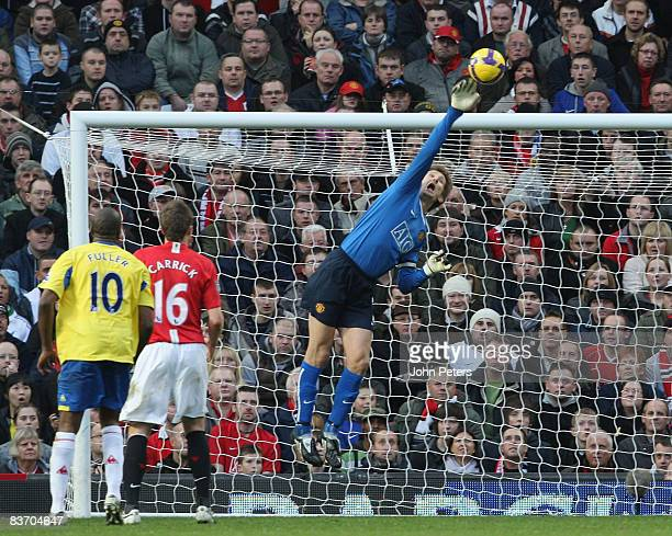 Edwin van der Sar of Manchester United makes a save during the Barclays Premier League match between Manchester United and Stoke City at Old Trafford...