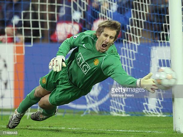 Edwin van der Sar of Manchester United makes a save during the UEFA Champions League Group F match between FC Dynamo Kiev and Manchester United at...