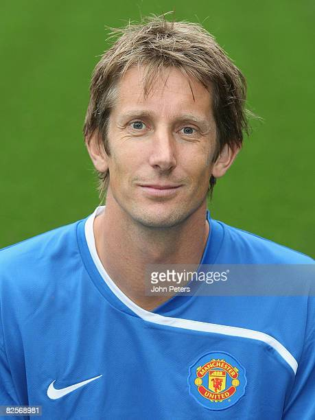 Edwin van der Sar of Manchester United poses during the club's official annual photocall at Old Trafford on August 27 2008 in Manchester England