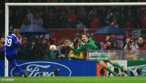 Edwin Van der Sar of Manchester United saves the penalty attempt from Ncolas Anelka of Chelsea to win during the UEFA Champions League Final match...