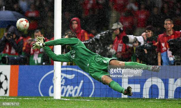 Edwin Van Der Sar of Manchester United saves the penalty taken Nicolas Anelka of Chelsea that meant Manchester United won the Champions League Final