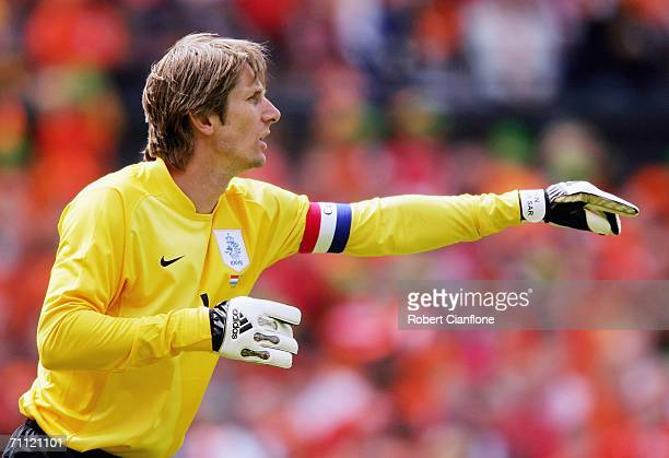 Edwin van der Sar of the Netherlands gives instructions during the international friendly match between Netherlands and Australia at De Kuip Stadium...