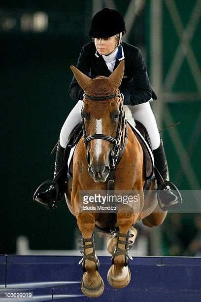 Edwina Alexander with the horse Cevo Itot Du Chateau in action during the International Jumping Competition as part of the Athina Onassis...