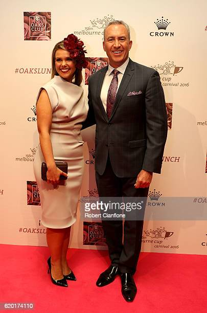 Edwina Bartholomew and Mark Beretta arrive for the VRC Oaks Club Luncheon at Crown Palladium on November 2 2016 in Melbourne Australia