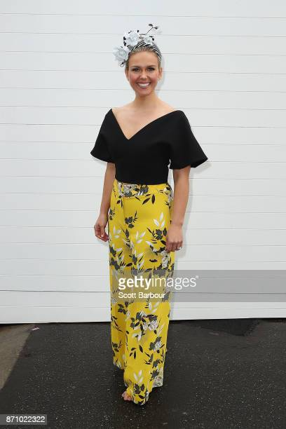 Edwina Bartholomew poses on Melbourne Cup Day at Flemington Racecourse on November 7 2017 in Melbourne Australia