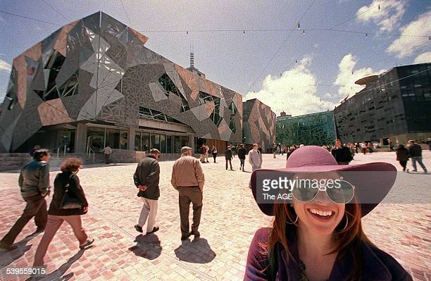 Edwina Blush a visitor on opening day who 'just loved' the new Federation Square in Melbourne 26 October 2002 THE AGE Picture by SIMON SCHLUTER