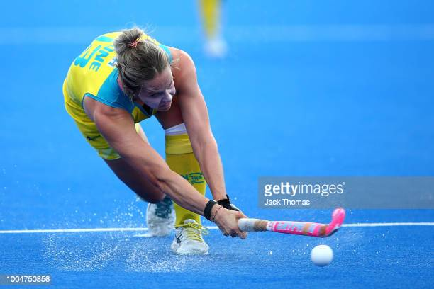 Edwina Bone of Australia in action during the Pool D game between Australia and Belgium of the FIH Womens Hockey World Cup at Lee Valley Hockey and...