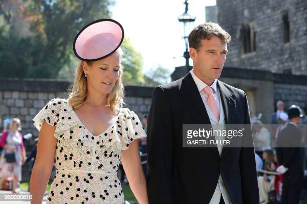 Edwina Louise Grosvenor and Dan Snow arrive for the wedding ceremony of Britain's Prince Harry Duke of Sussex and US actress Meghan Markle at St...