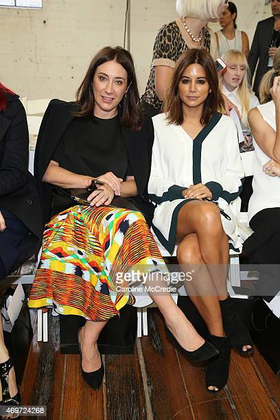 Edwina McCann and Christine Centenera attend the Akira show at MercedesBenz Fashion Week Australia 2015 at Carriageworks on April 15 2015 in Sydney...