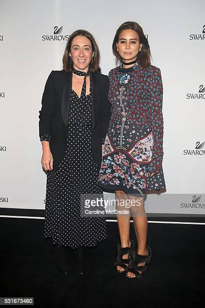 Edwina McCann and Christine Centenera attend the Swarovski show at MercedesBenz Fashion Week Resort 17 Collections at Carriageworks on May 16 2016 in...