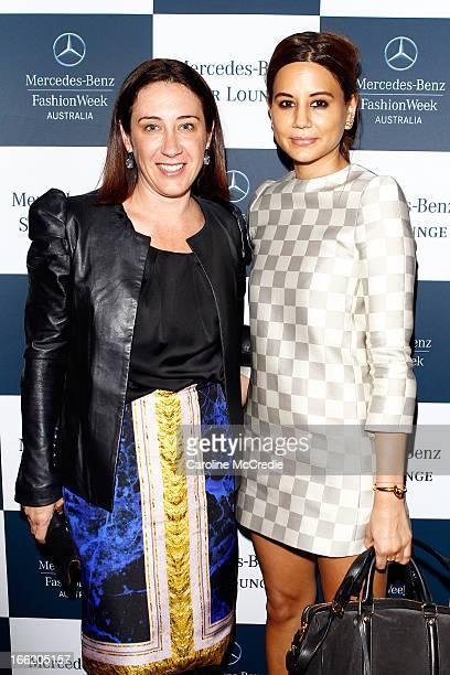 Edwina McCann and Christine Centenera from Vogue Magazine attend the Star Lounge during MercedesBenz Fashion Week Australia Spring/Summer 2013/14 at...