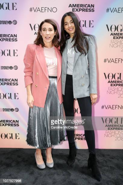 Edwina McCann and Jessica Gomes during Vogue American Express Fashion's Night Out on September 6 2018 in Sydney Australia