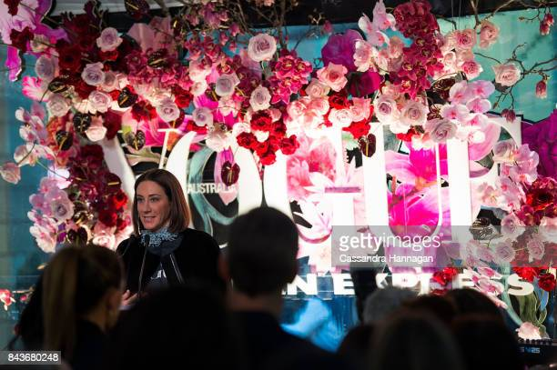 Edwina McCann give a speech during Vogue American Express Fashion's Night Out 2017 on September 7 2017 in Sydney Australia