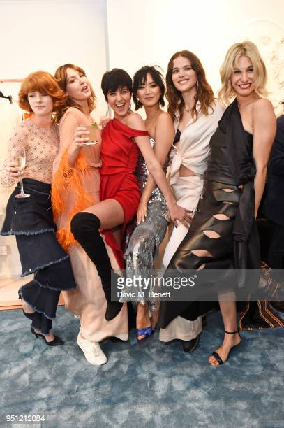 Edwina Preston Martine Lervik Eliza Cummings Betty Bachz Frankie Herbert and Sophie Ball attend the House Of Osman launch party supported by Peroni...