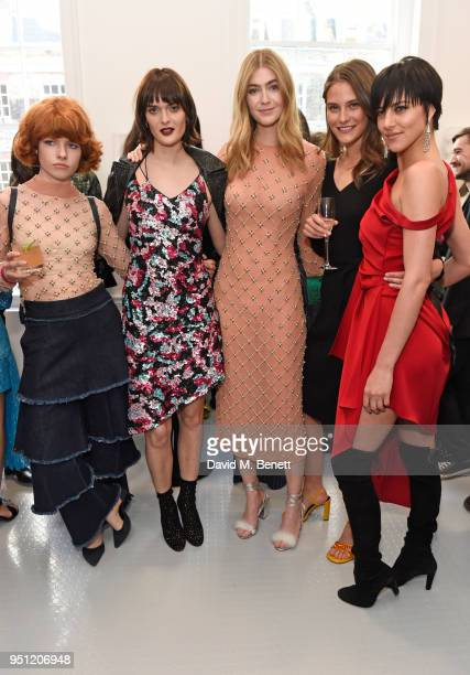 Edwina Preston Sam Rollinson Eve Delf Charlotte Wiggins and Eliza Cummings attend the House Of Osman launch party supported by Peroni Ambra on April...