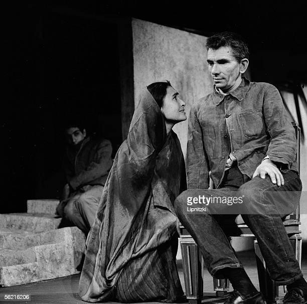 Edwine Moatti and JeanMarie Serreau in La Femme sauvage of Kateb Yacine Production JeanMarie Serreau Paris theatre Recamier January 1963