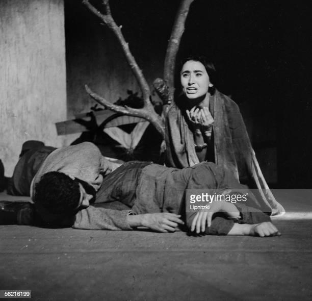 Edwine Moatti in La Femme sauvage of Kateb Yacine Production JeanMarie Serreau Paris theatre Recamier January 1961