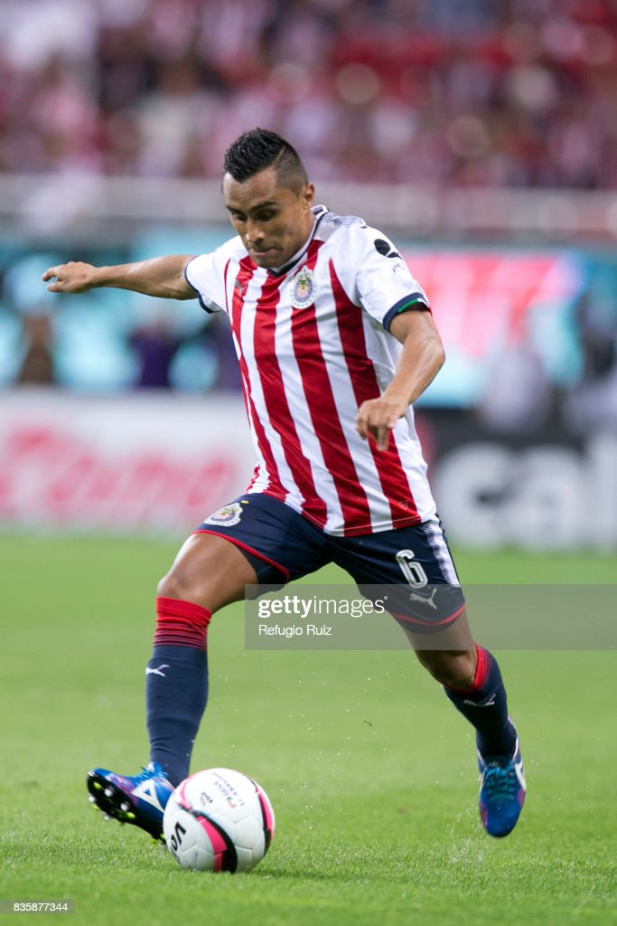 Edwuin Hernandez of Chivas kicks the ball during the fifth round match between Chivas and Puebla as part of the Torneo Apertura 2017 Liga MX at Chivas Stadium on August 19, 2017 in Zapopan, Mexico.