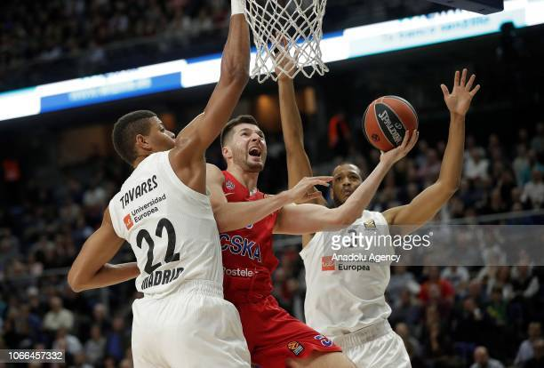 Edy Tavares and Anthony Randolph of Real Madrid try to prevent Alec Peters of CSKA Moscow attempting to score during Turkish Airlines Euroleague week...