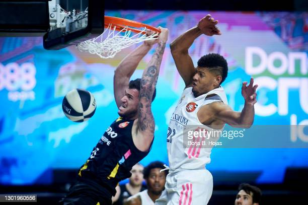 Edy Tavares of Real Madrid and Fran Guerra of Lenovo Tenerife during Semi Finals of King's Cup match between Real Madrid and Lenovo Tenerife at...
